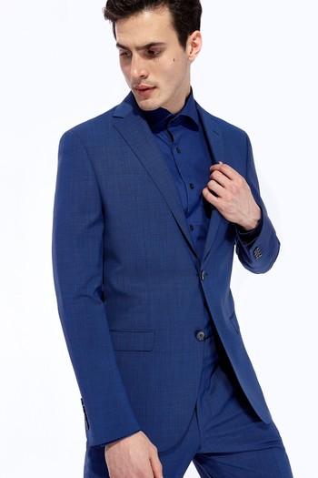 Slim Fit İtalyan Yünlü Kuşgözü Takım Elbise