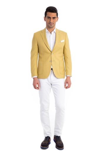 İtalyan Slim Fit Desenli Ceket