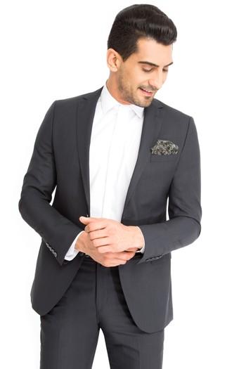 Slim Fit Yün Çizgili Takım Elbise