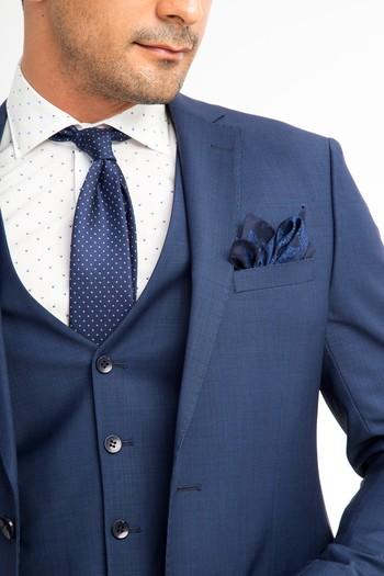 Slim Fit Kuşgözü Yelekli Takım Elbise