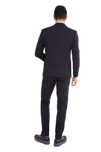 Slim Fit İtalyan Yün Çizgili Takım Elbise