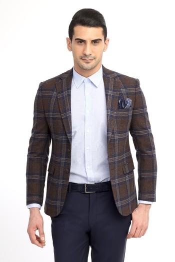 Slim Fit İtalyan Yün Ekose Ceket