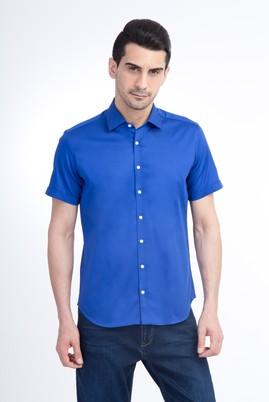 Kısa Kol Saten Slim Fit Gömlek