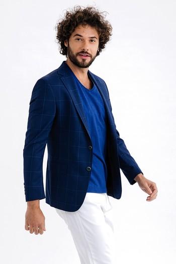 İtalyan Yün Kareli Ceket