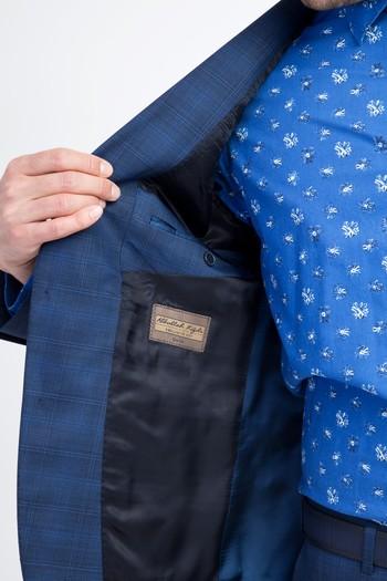 Slim Fit Kareli Yün Takım Elbise