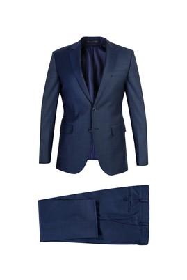 Slim Fit Yünlü Desenli Takım Elbise