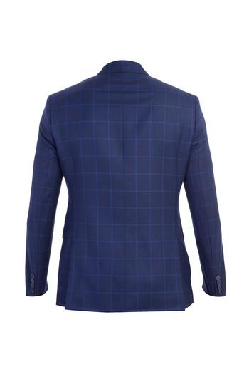 Slim Fit Yünlü İtalyan Kareli Ceket