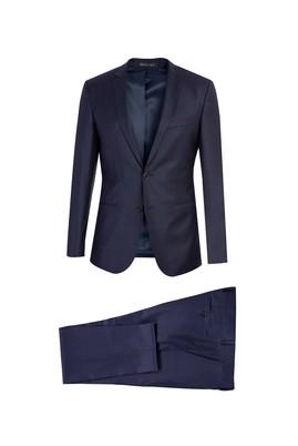 Süper Slim Fit Yünlü Desenli Takım Elbise