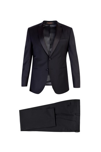 Slim Fit Mono Yaka Yünlü Smokin / Damatlık