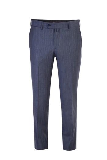 Slim Fit Yünlü Çizgili Takım Elbise