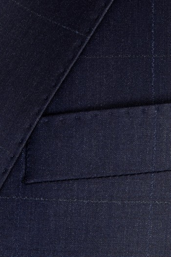 Slim Fit Yün Kareli Takım Elbise