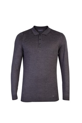 Polo Yaka Yünlü Regular Fit Triko Kazak