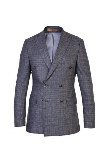 İtalyan Slim Fit Kruvaze Yünlü Kuşgözü Ceket