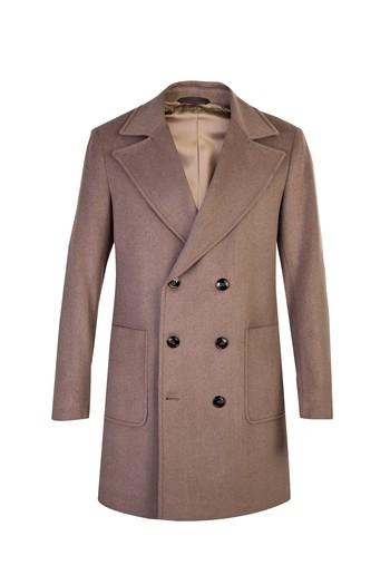 Kruvaze Yünlü Palto