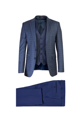 Slim Fit Yelekli Kombinli Ekose Takım Elbise