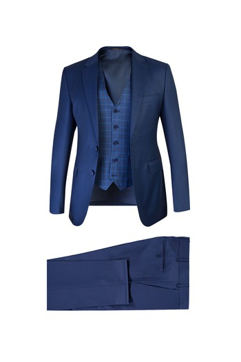 Slim Fit Yelekli Yünlü Kombinli Takım Elbise