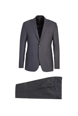 Slim Fit Ekose Yün Takım Elbise