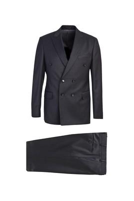 Slim Fit Kruvaze Yün Takım Elbise