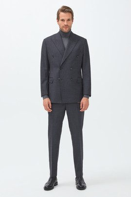 Regular Fit Kruvaze Yünlü Çizgili Takım Elbise