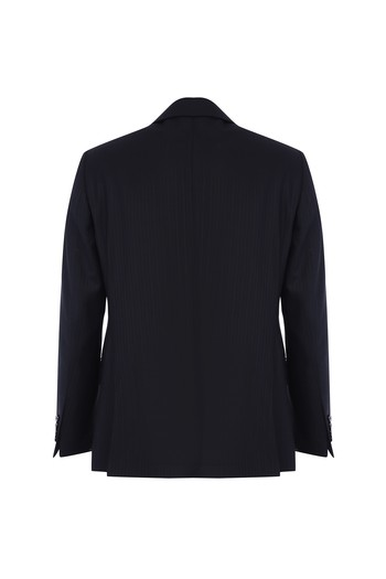 Regular Fit Çizgili Yün Takım Elbise