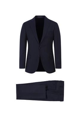 Regular Fit Çizgili Sivri Yaka Yün Takım Elbise