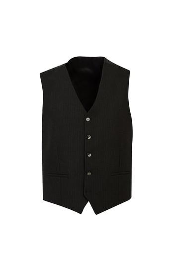 Regular Fit Yünlü Yelekli Çizgili Takım Elbise