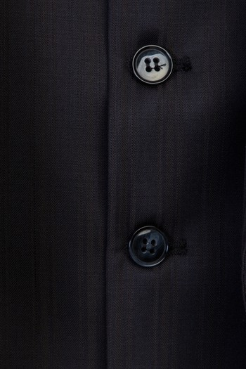 Regular Fit Yelekli Çizgili Yün Takım Elbise