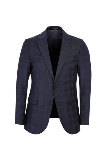 Regular Fit Yünlü Ekose Takım Elbise