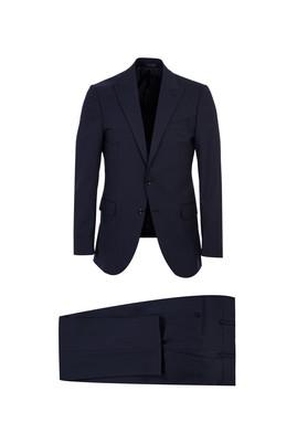 Regular Fit Yünlü Çizgili Sivri Yaka Takım Elbise