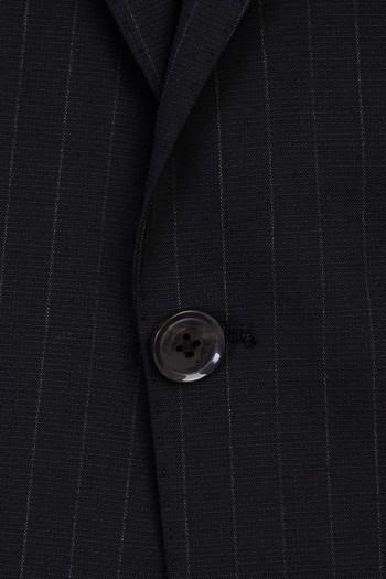 Slim Fit Yünlü Çizgili Sivri YakaTakım Elbise