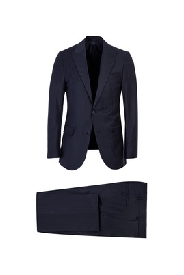 Regular Fit Yünlü Çizgili Takım Elbise