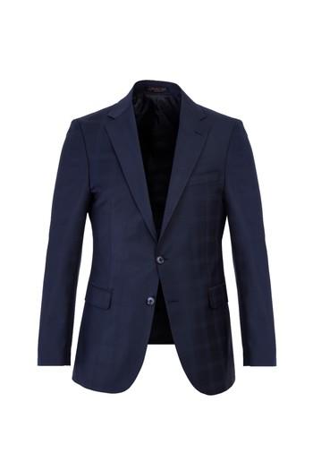 Slim Fit Yünlü Kareli Takım Elbise