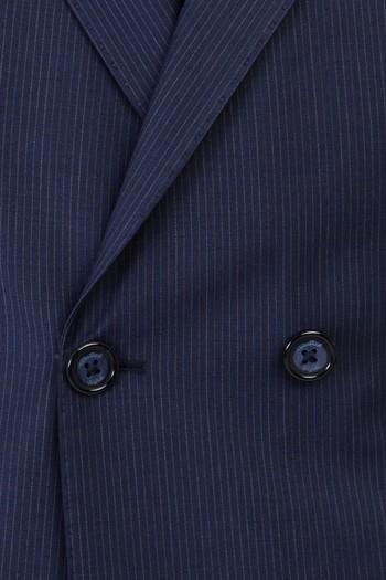 Regular Fit Yünlü Çizgili Kruvaze Takım Elbise