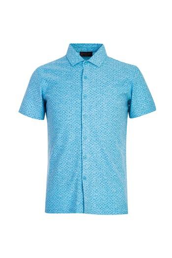 Polo Yaka Slim Fit Düğmeli Desenli Tişört