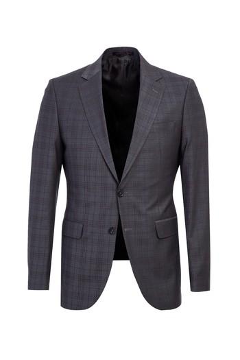 Slim Fit Yünlü Ekose Takım Elbise