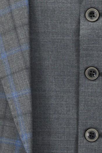 Regular Fit Yelekli Yünlü Kombinli Ekose Takım Elbise