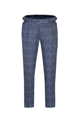 Slim Fit Desenli Klasik Tokalı Pileli Pantolon